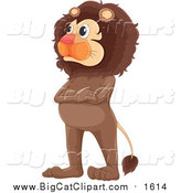 Cartoon Vector Clipart of a Male Lion Standing with Folded Arms by Graphics RF