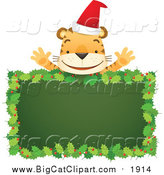 Cartoon Vector Clipart of a Santa Tiger Above Blank Holly Sign by Qiun