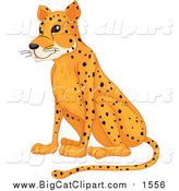 Cartoon Vector Clipart of a Sitting Cheetah by Graphics RF