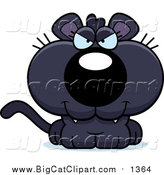 Cartoon Vector Clipart of a Sly Panther Cub by Cory Thoman