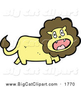 Cartoon Vector Clipart of a Wild Male Lion Screaming by Lineartestpilot