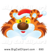 Clipart of Tiger Wearing Santa Hat by Alex Bannykh