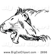Vector Clipart of a Black and White Roaring Lion by Prawny Vintage