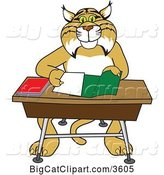 Vector Clipart of a Bobcat School Mascot Organizing and Doing Homework by Toons4Biz