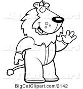 Vector Clipart of a Cartoon Black and White Waving Lion in Footie Pajamas by Cory Thoman