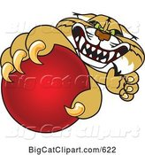 Vector Clipart of a Cartoon Bobcat Character Grabbing a Red Ball by Toons4Biz
