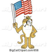 Vector Clipart of a Cartoon Bobcat Character Holding a Flag by Toons4Biz
