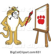 Vector Clipart of a Cartoon Bobcat Character Painting a Paw Print by Toons4Biz