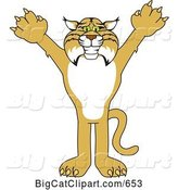 Vector Clipart of a Cartoon Bobcat Character Reaching out by Toons4Biz