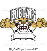 Vector Clipart of a Cartoon Bobcat Character School Logo with a Banner by Toons4Biz