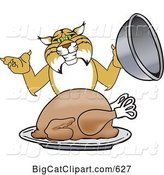 Vector Clipart of a Cartoon Bobcat Character Serving a Turkey by Toons4Biz