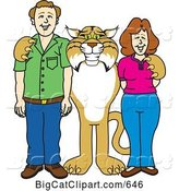 Vector Clipart of a Cartoon Bobcat Character with Teachers or Parents by Toons4Biz