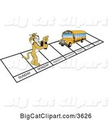 Vector Clipart of a Cartoon Bobcat School Mascot and Bus over Week Days, Symbolizing Being Proactive by Toons4Biz