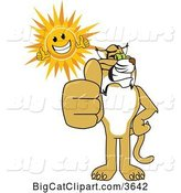 Vector Clipart of a Cartoon Bobcat School Mascot and Sun Holding Thumbs Up, Symbolizing Excellence by Toons4Biz