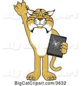 Vector Clipart of a Cartoon Bobcat School Mascot Confessing to Breaking a Tablet, Symbolizing Integrity by Toons4Biz
