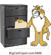 Vector Clipart of a Cartoon Bobcat School Mascot Filing Folders, Symbolizing Organization by Toons4Biz