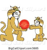 Vector Clipart of a Cartoon Bobcat School Mascot Giving a Ball to a Cub, Symbolizing Compassion by Toons4Biz