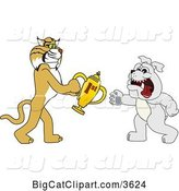 Vector Clipart of a Cartoon Bobcat School Mascot Giving a First Place Trophy to a Bulldog, Symbolizing Teamwork and Sportsmanship by Toons4Biz