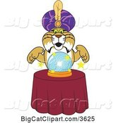Vector Clipart of a Cartoon Bobcat School Mascot Gypsy Looking into a Crystal Ball, Symbolizing Being Proactive by Toons4Biz