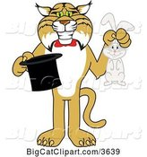 Vector Clipart of a Cartoon Bobcat School Mascot Holding a Rabbit and a Magic Hat, Symbolizing Being Resourceful by Toons4Biz