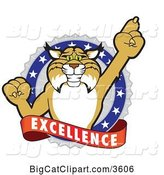 Vector Clipart of a Cartoon Bobcat School Mascot Holding up a Finger in an Excellence Badge by Toons4Biz