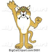 Vector Clipart of a Cartoon Bobcat School Mascot Holding up a Hand, Symbolizing Responsibility by Toons4Biz