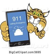 Vector Clipart of a Cartoon Bobcat School Mascot Holding up a Smart Phone with an Emergency Screen, Symbolizing Safety by Toons4Biz