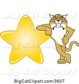 Vector Clipart of a Cartoon Bobcat School Mascot Leaning Against a Gold Star, Symbolizing Excellence by Toons4Biz