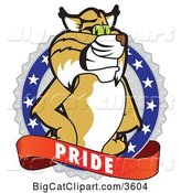 Vector Clipart of a Cartoon Bobcat School Mascot on a Pride Badge by Toons4Biz