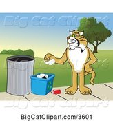 Vector Clipart of a Cartoon Bobcat School Mascot Recycling, Symbolizing Integrity, Against a Park Landscape by Toons4Biz