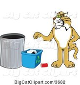 Vector Clipart of a Cartoon Bobcat School Mascot Recycling, Symbolizing Integrity by Toons4Biz
