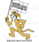 Vector Clipart of a Cartoon Bobcat School Mascot Running with a Team Flag, Symbolizing Pride by Toons4Biz