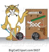 Vector Clipart of a Cartoon Bobcat School Mascot Showing a Toothpaste Dispenser Invention, Symbolizing Being Resourceful by Toons4Biz