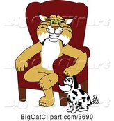 Vector Clipart of a Cartoon Bobcat School Mascot Sitting by a Dog, Symbolizing Responsibility by Toons4Biz