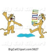 Vector Clipart of a Cartoon Bobcat School Mascot Warning Another That Is Carrying a Stack of Books About a Puddle, Symbolizing Being Proactive by Toons4Biz