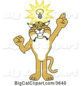 Vector Clipart of a Cartoon Bobcat School Mascot with an Idea, Symbolizing Being Resourceful by Toons4Biz