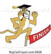 Vector Clipart of a Cartoon Determined Bobcat School Mascot Graduate Running to a Finish Line by Toons4Biz