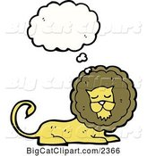 Vector Clipart of a Cartoon Thinking Lion by Lineartestpilot