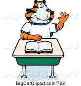 Vector Clipart of a Cartoon Tiger Student Raising His Hand at a Desk by Cory Thoman