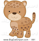 Vector Clipart of a Cute Cartooon Leopard Baby by BNP Design Studio