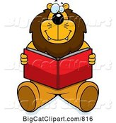 Vector Clipart of a Happy Cartoon Big Lion Sitting and Reading a Book by Cory Thoman