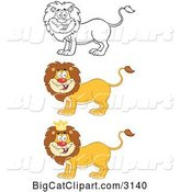 Vector Clipart of a Happy Cartoon Male Lions by Hit Toon