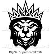 Vector Clipart of a Heraldic Lion with a Crown - Black and White V3 by Vector Tradition SM