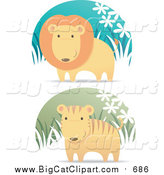 Vector Clipart of a Lion and Cute Tiger in Grass by Qiun