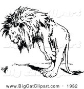 Vector Clipart of a Lion Looking at a Bug with Wings - Black Outline by Prawny Vintage
