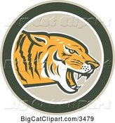 Vector Clipart of a Retro Growling Tiger in a Green Circle by Patrimonio