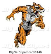 Vector Clipart of a Strong Running Tiger Mascot by AtStockIllustration