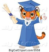 Vector Clipart of a Tiger Cub Graduate Cheering in a Cap and Gown and Holding a Diploma by Pushkin