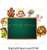 Vector Clipart of Animals Around a Blank Chalkboard by Graphics RF
