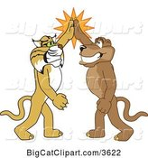 Vector Clipart of Cartoon Bobcat and Cougar School Mascots High Fiving, Symbolizing Teamwork and Sportsmanship by Toons4Biz